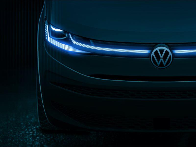 Um esboço de design do novo Volkswagen Multivan de frente