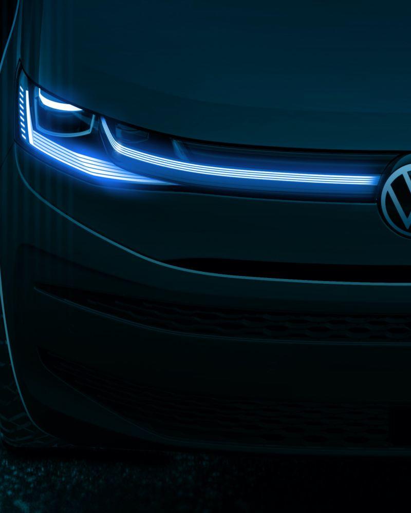 Eine Designskizze vom neuen Volkswagen Multivan von vorne.