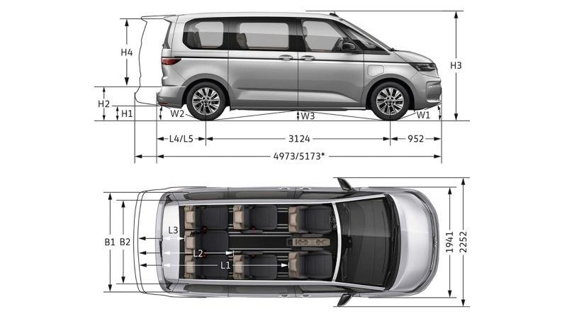 Eine Maßzeichnung vom VW Multivan.