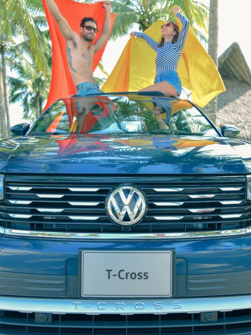 Imagen frontal de T-Cross adquirida con el nuevo crédito automotriz de Volkswagen.