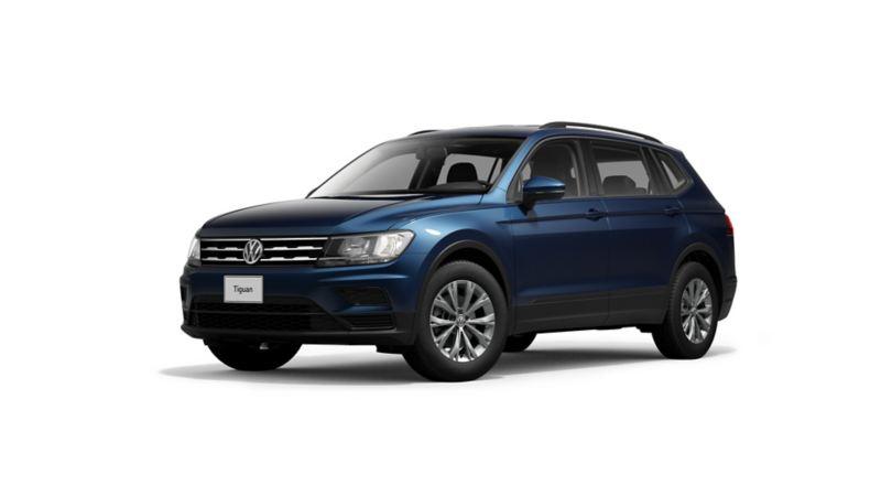 Imagen exterior de vehículo SUV Tiguan 2021 en color azul oscuro