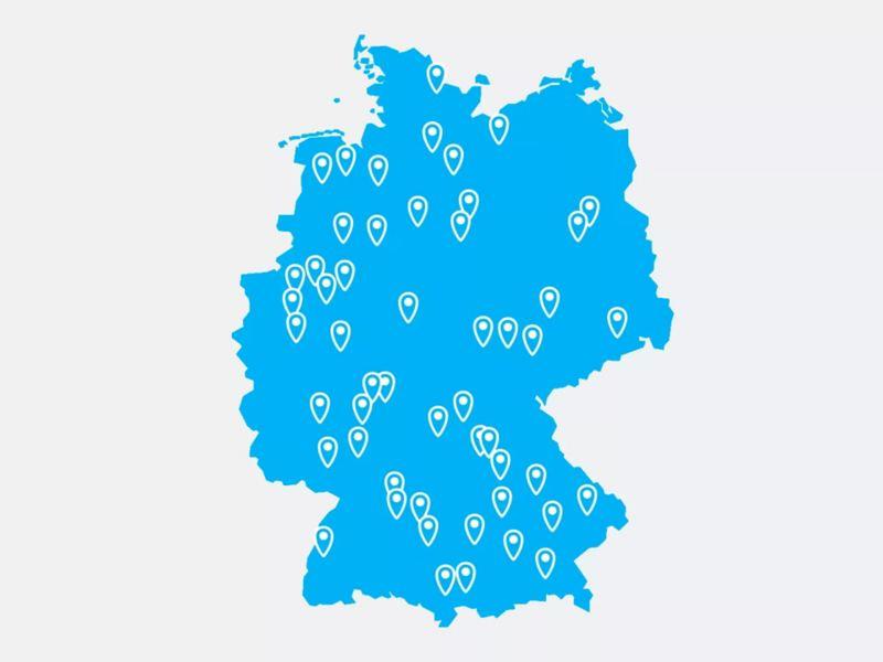 Eine Deutschlandkarte für die TradePort Händlersuche.