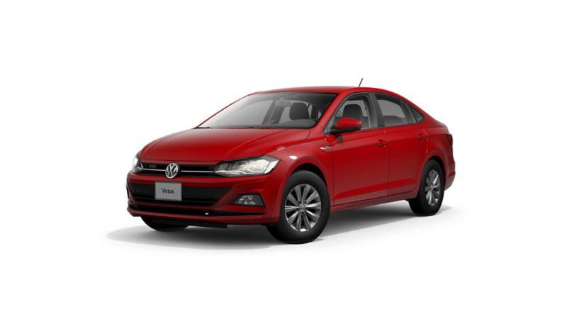 Imagen exterior de auto VW Virtus 2021 en color rojo