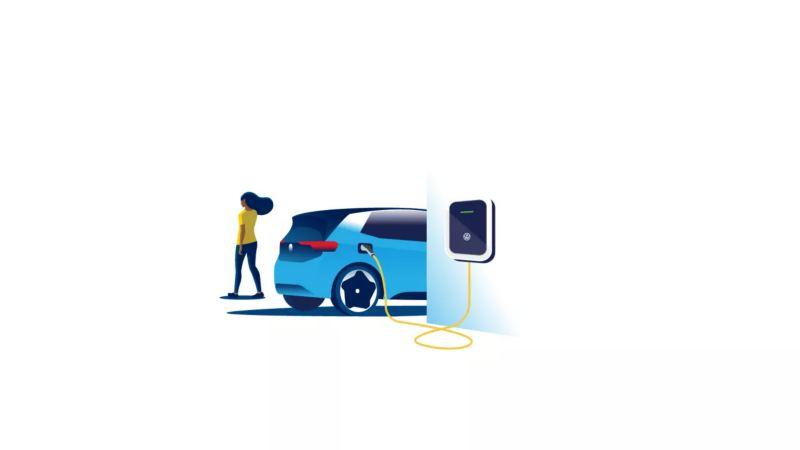 Frau lädt Volkswagen ID.3 auf