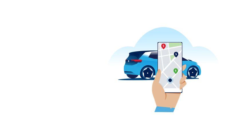 Smartphone con app WeConnect e sezione della mappa incl. punti contrassegnati