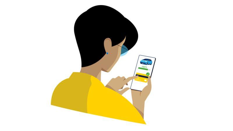 Smartphone com WeConnect App e confirmação de pagamento